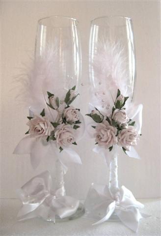 Свадебные бокалы с цветами своими руками