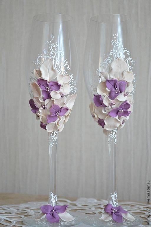 Свадебные бокалы для молодых своими руками мастер