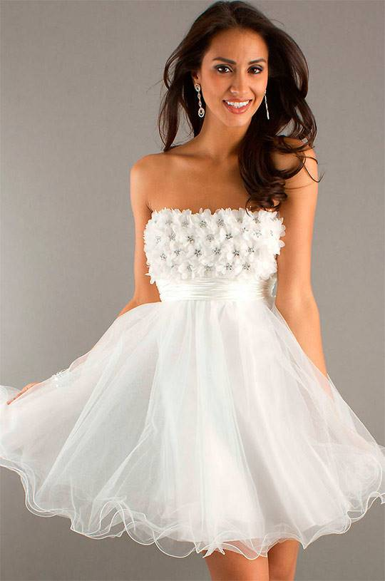 Белое свадебное платье короткое