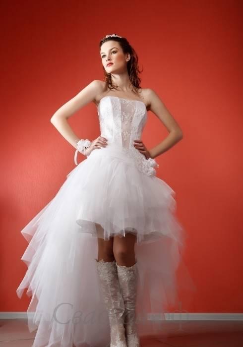 снять свадебные короткие платья со шлейфом видео новос