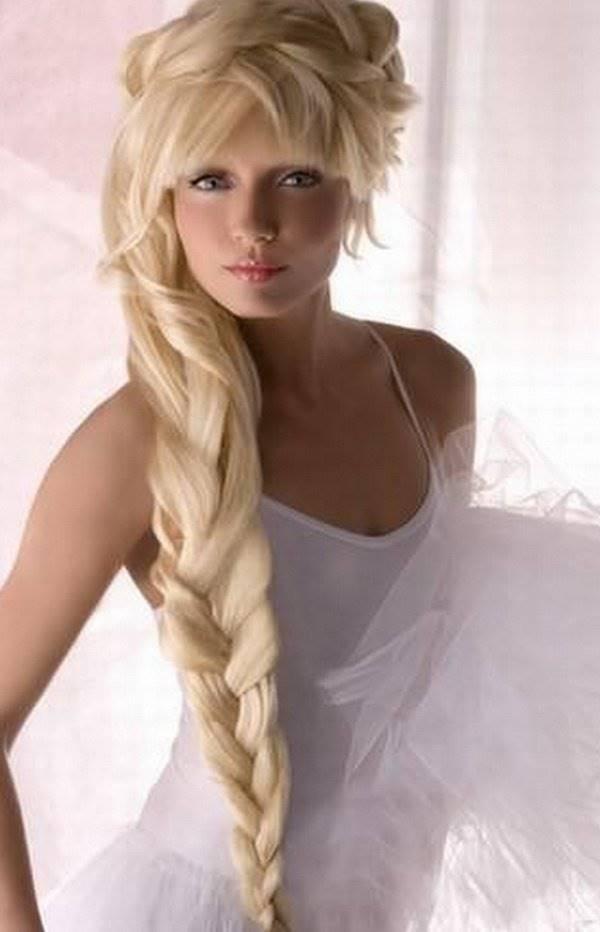 Косы на длинные волосы с челкой своими руками фото