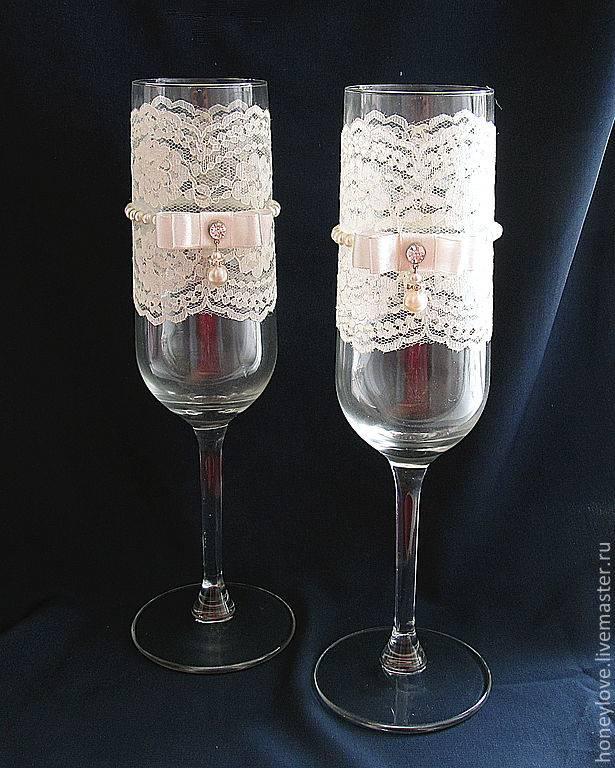 Как сделать свадебные бокалы с кружевом своими руками