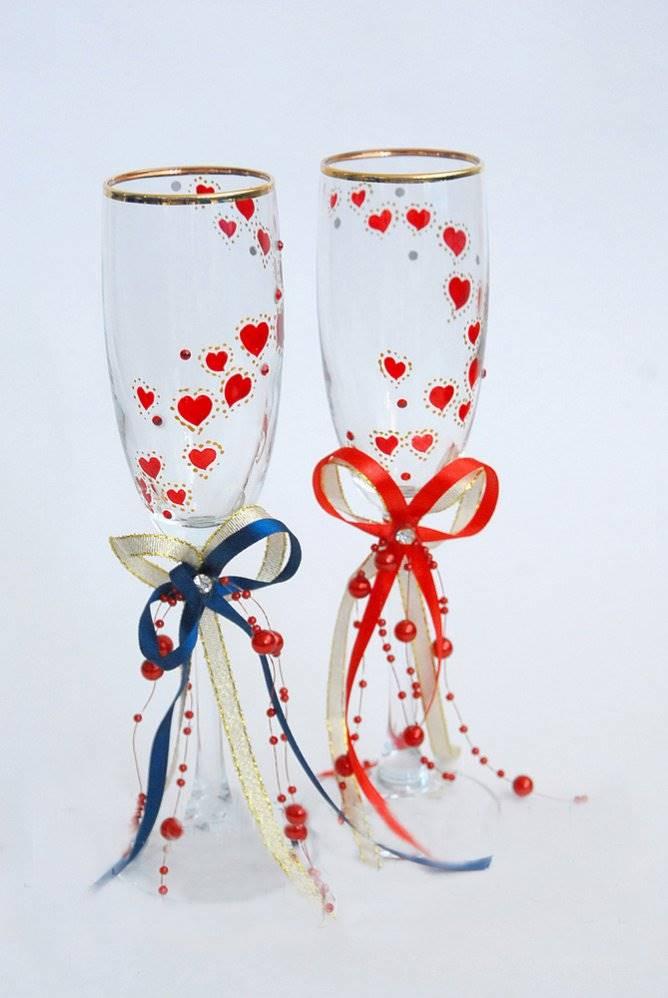 Декор для свадебных бокалов своими руками 97