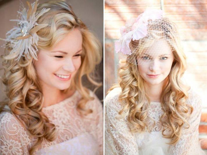 Причёски свадебные на средние волосы распущенные фото