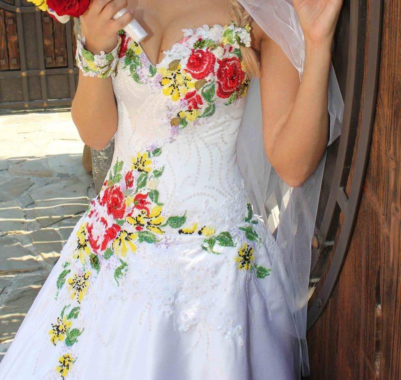 Вышивка лентами свадебное платье